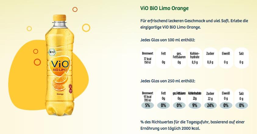 ViO Bio Limo Orange Nährwertangaben