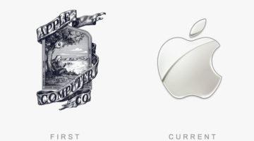 Logo von Apple - Damals und heute