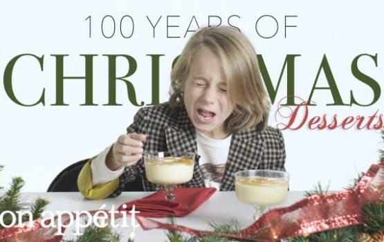 Kinder versuchen Weihnachtsdesserts der letzten 100 Jahre