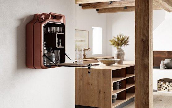 Danish Fuel - Bar Cabinet - Bar Schrank aus alten Kanistern aus dem Zweiten Weltkrieg